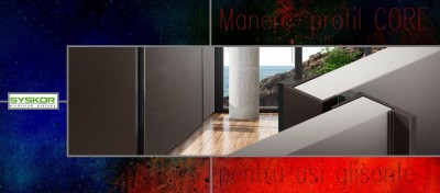 Maner - profil CORE pentru usi culisante mobila, aluminiu vopsit negru mat, Protege Parol, baner 2
